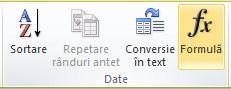Grupul Date din Instrumente tabel - Aspect din panglica Word 2010