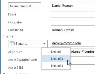 Adăugarea unei adrese de e-mail suplimentare pentru o persoană de contact