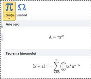 Ecuații preformatate din lista Ecuație