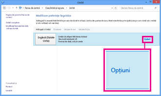 Adăugarea metodei de intrare în Panoul de control din Windows 8