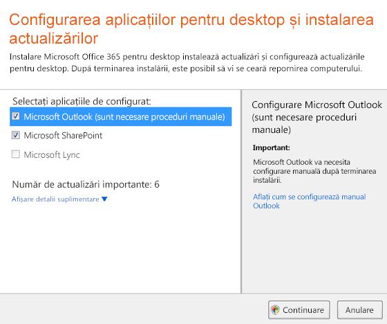 Configurarea aplicațiilor desktop și instalarea actualizărilor