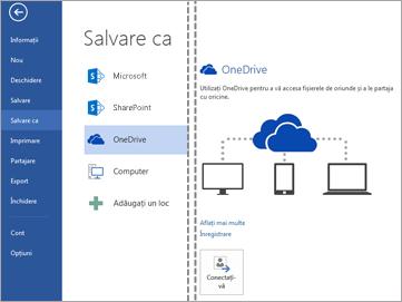 Salvarea unui fișier în OneDrive