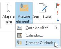 Comanda Atașare element Outlook din panglică