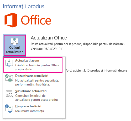 Căutarea manuală a actualizărilor Office în Word 2016