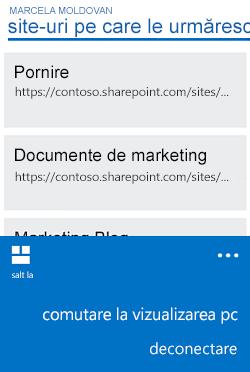 Meniu pentru a comuta de la vizualizarea mobilă la vizualizarea PC pe Windows Phone