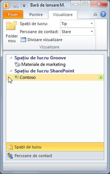 Un spațiu de lucru SharePoint din Bara de lansare