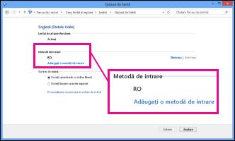 Adăugarea unei metode de intrare în Windows 8