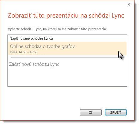 Začatie schôdzu programu Lync
