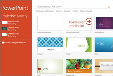 Domovská obrazovka PowerPointu 2013