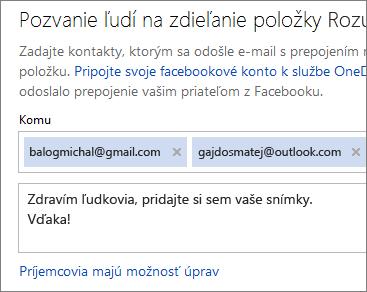 Zadanie e-mailových adries a správy na odoslanie prepojenia e-mailom
