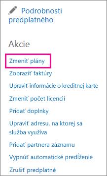 Prepojenie na zmenu plánov používané na zmenu plánu služieb Office 365.