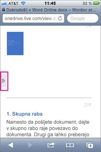 Tapnite, da odprete orodno vrstico v pregledovalnikih za Office Mobile