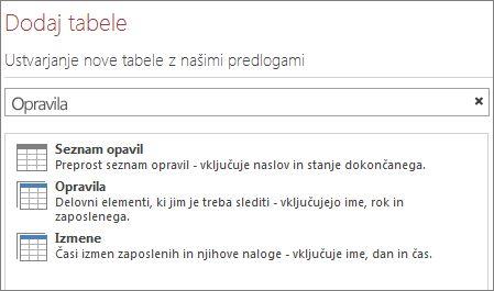 Iskalno polje predloge tabele na pozdravnem zaslonu programa Access.
