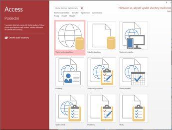 Accessov pozdravni zaslon, ki označuje iskalno polje predloge in gumba »Spletni program po meri« in »Prazna namizna zbirka podatkov«.