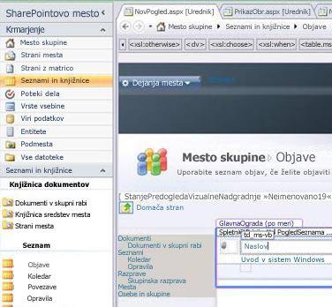 Ustvarjanje pogleda v programu Microsoft SharePoint Designer 2010