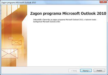 Okno za zagon programa Outlook 2010