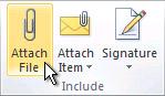 Ukaz »Priloži datoteko« na traku