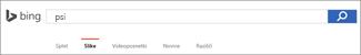 Poizvedba, vnesena v polje za iskanje slik storitve Bing