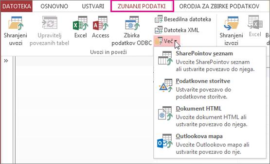 Možnosti zavihka za zunanje podatke v Accessu