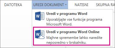 Slika ukaza »Uredi v programu Word Web App«