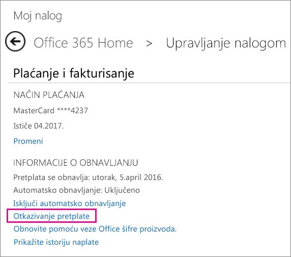 """Snimak ekrana stranice """"Upravljanje nalogom"""" sa izabranom vezom """"Otkaži pretplatu""""."""