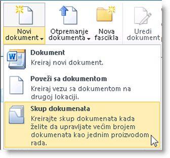"""Komanda """"Skup dokumenata"""" u meniju """"Novi dokument"""""""