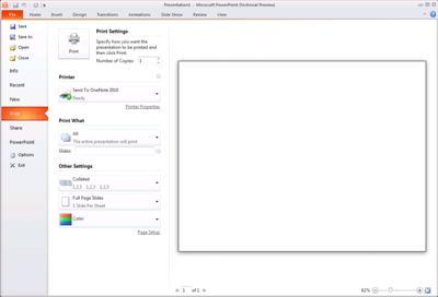 """Kartica """"Datoteka"""" u programu PowerPoint 2010, pogled na grupu """"Štampanje""""."""