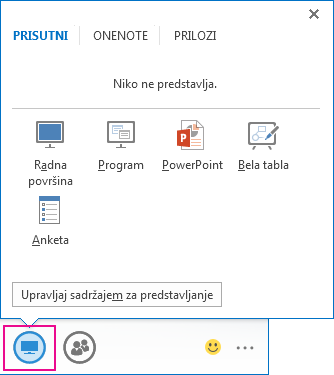 "Snimak kartice ""Prezentacija"" koja prikazuje režime ""Radna površina"", ""Program"", ""Power Point"", ""Bela tabla"" i ""Anketa"""