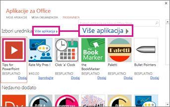 """Kliknite na dugme """"Još aplikacija"""" da biste pretražili sve aplikacije u prodavnici"""