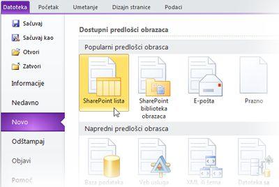InfoPath obrasci liste za SharePoint
