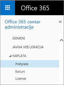 "Veza ka stranici ""Pretplate"" u usluzi Office 365 Small Business Premium."
