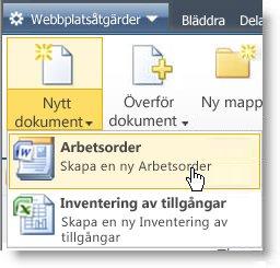Innehållstyper visas på menyn Nytt för en lista eller ett bibliotek.