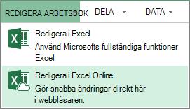 Redigera i Excel Online på menyn Redigera arbetsbok