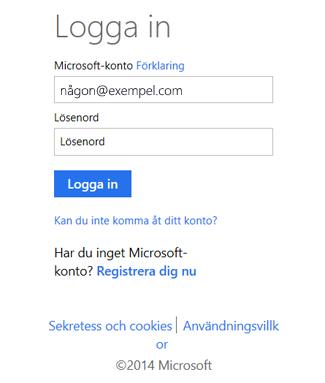 Dialogrutan Logga in på OneDrive