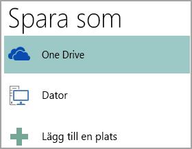 Skärmbild av alternativet Spara som i Publisher.