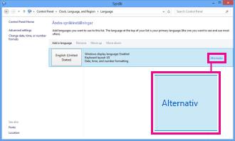 Lägga till en inmatningsmetod på Kontrollpanelen i Windows 8