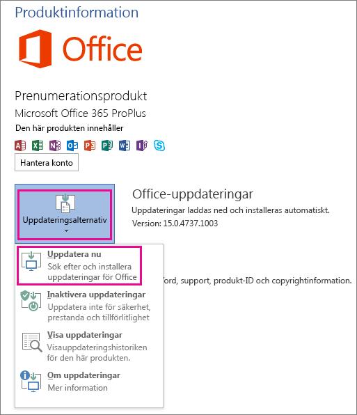 Söka manuellt efter Office-uppdateringar i Word 2013