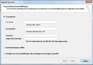 Dialogrutan Lägg till nytt konto visas med valt e-postkonto