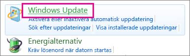 Windows Update-länken i kontrollpanelen
