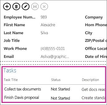 En vy i en Access-app, där aktiviteter visas i en kontroll för relaterade objekt.