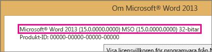 Office versionsnummer