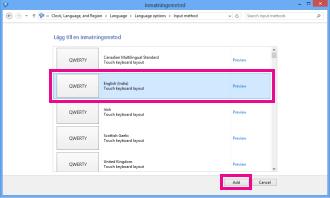 Lägga till inmatningsmetod i Windows 8