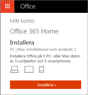 Sidan Mina konton i Office Store där knappen Installera visas