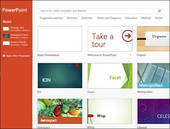 Startskärmen i PowerPoint 2013
