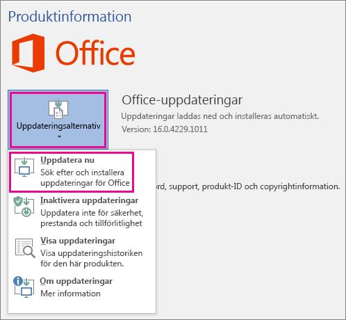 Söka manuellt efter Office-uppdateringar i Word 2016