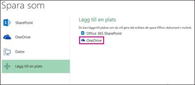 Alternativet Spara till OneDrive