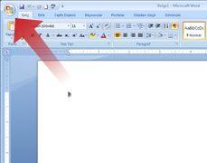 Microsoft Office Düğmesi'ni gösteren ok