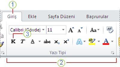 Word 2010 Şeridi