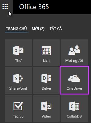 Sử dụng công cụ khởi động ứng dụng trong Office 365 để đi đến OneDrive for Business