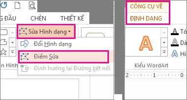 Lệnh Điểm Sửa được truy cập từ Sửa Hình dạng trên tab  Định dạng Công cụ Vẽ